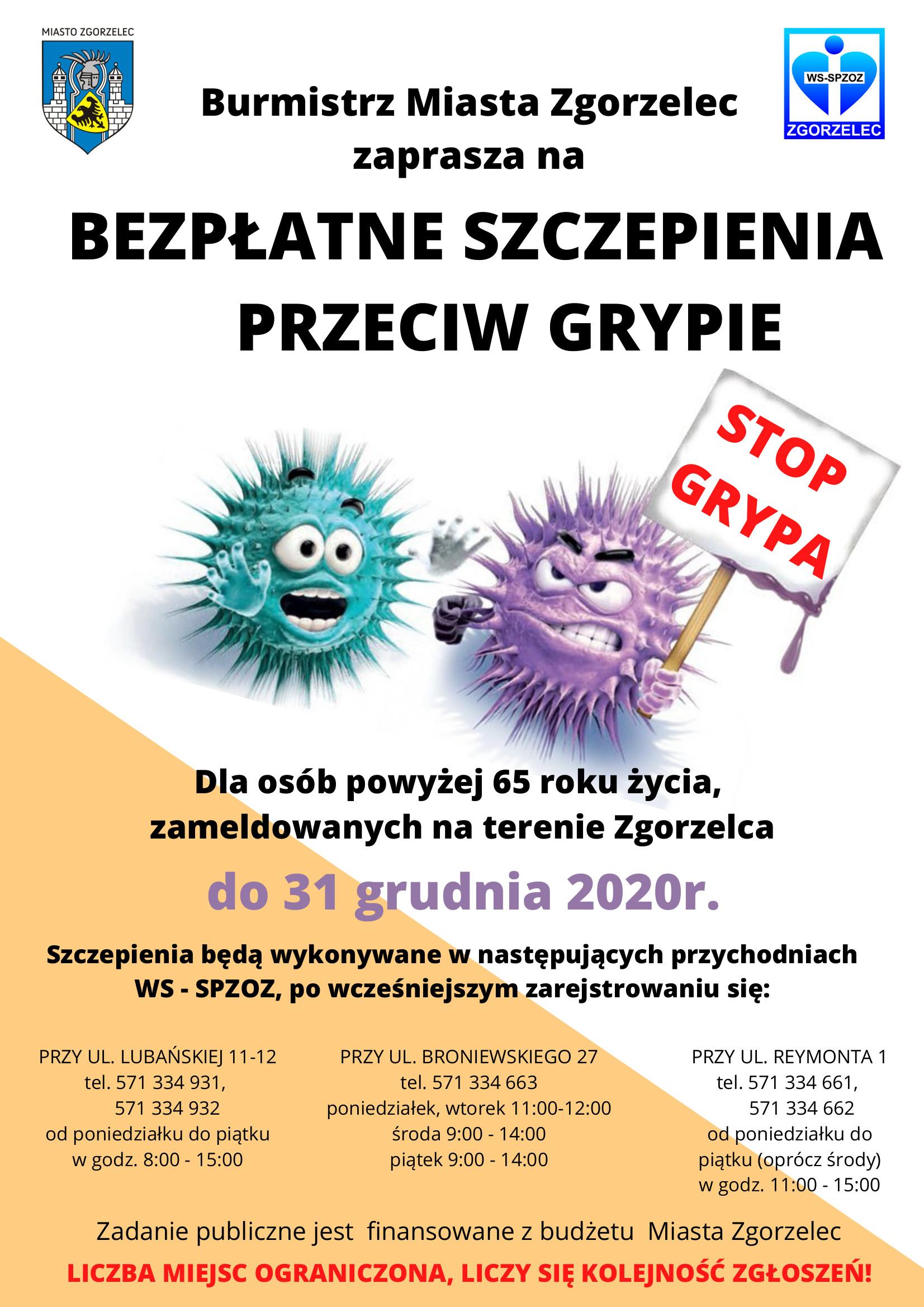 Szczepienia przeciw grypie dla mieszkańców Zgorzelca powyżej 65 roku życia