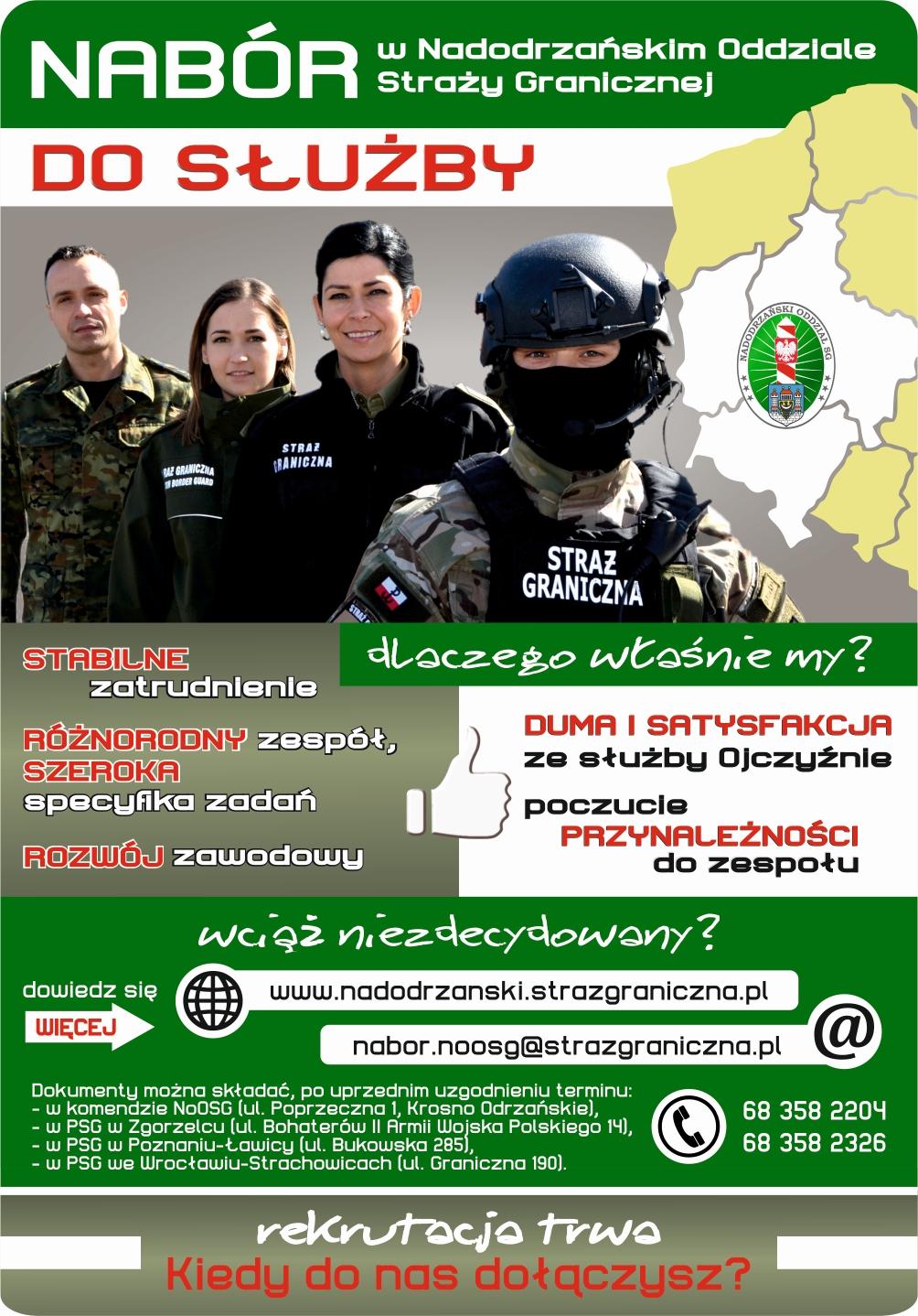 Nabór do służby w Nadodrzańskim Oddziale Straży Granicznej na 2021 rok